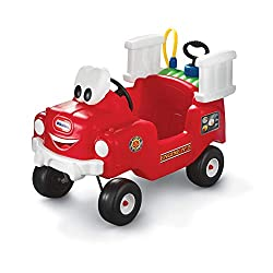 REAL LITTLE FIREFIGHTERS - Little firefighters can tackle the flames and be the heroes of the hour with the Spray and Rescue Fire Truck. The foot-to-floor ride-on has a friendly smiling face that children adore WORKING WATER HOSE - They will love the...