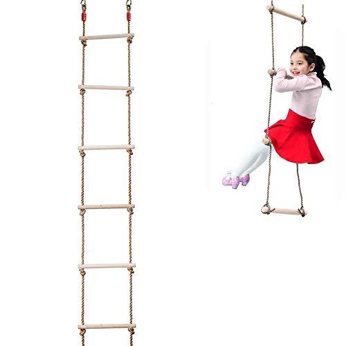 Escalera De Cuerda para Árbol Juguetes Escaladas A Escalera De Cuerdas Juego De Interior Y Al Aire Libre para Niños - Madera 6 Cuerdas