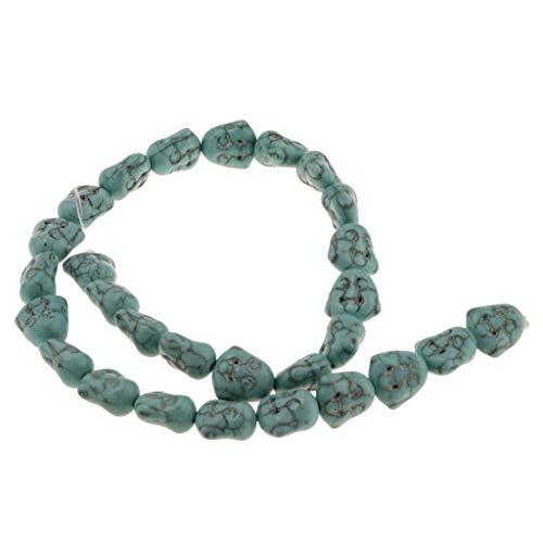 Bonarty 28 Piezas de Cuentas de Cabeza de Buda Turquesas Verdes/Blancas Aptas para Collar de Pulsera DIY - Verde, Individual