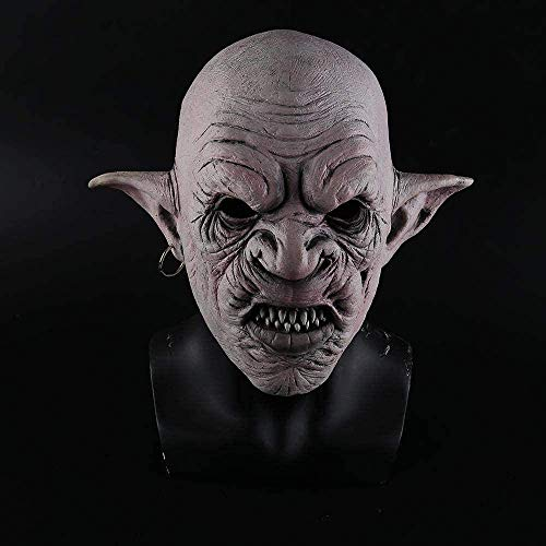 KCGNBQING La máscara fresca con los pendientes en la oreja del horror máscara de Halloween espeluznante del fiesta del traje de Cosplay de los apoyos de los hombres de látex máscara de miedo Mascara d