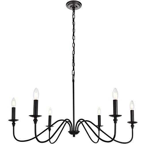 Elegant Lighting Rohan Collection 6 Light Chandelier in Matte Black Finish - 36'D x 19'H