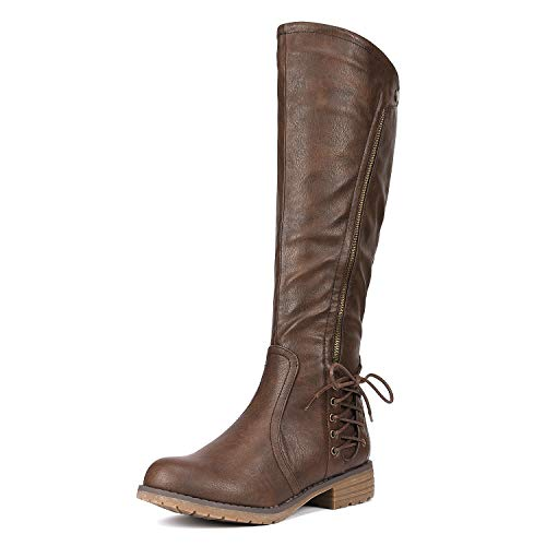 DREAM PAIRS Women's Rival Brown Knee High Boots Size 5 B(M) US