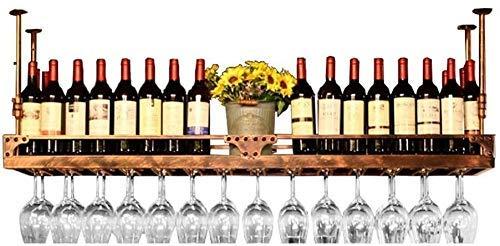 LYLSXY Estantes de Vino Montado en el Techo Estante de Botellas de Vino Colgante Estante de Vino Estante de Vino de Altura Ajustable Soporte de Copa de Vino de Hierro de Metal Estante de Copa Estante