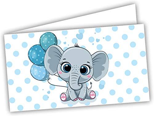 Bigliettini Bomboniera Sacchetti Confetti - Battesimo Nascita Compleanno pretagliati Elefantino maschietto - stampa l'interno con link e il foglio di prova per non sbagliare (60)