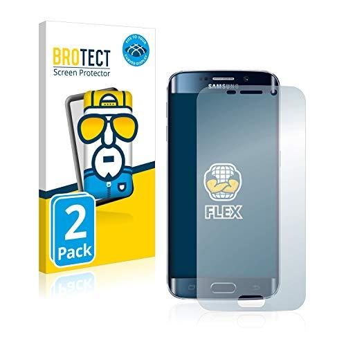 BROTECT Full-Cover Schutzfolie kompatibel mit Samsung Galaxy S6 Edge (2 Stück) - Full-Screen Bildschirmschutz-Folie, 3D Curved, Kristall-Klar