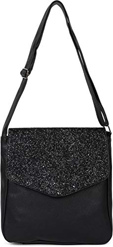 styleBREAKER Damen Messenger Bag Umhängetasche mit Pailletten Überschlag, Schultertasche, Crossbody Bag, Tasche 02012294, Farbe:Schwarz-Schwarz