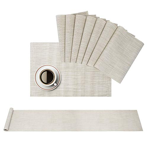 Airsnigi Placemats Elegant Placemats for Dining Table Set of 8 with 1 Table Runner Heat-Resistant Stain Resistant Washable PVC Table Mats Woven Vinyl Placemats Creamy-White