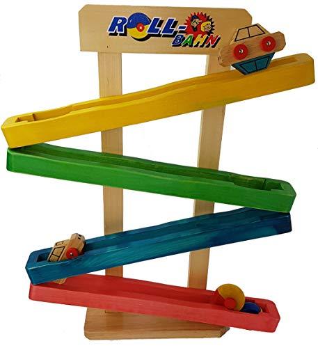 Beluga Rollbahn Kugelbahn aus Holz 4 Ebenen mit Autos und Räder 56 cm