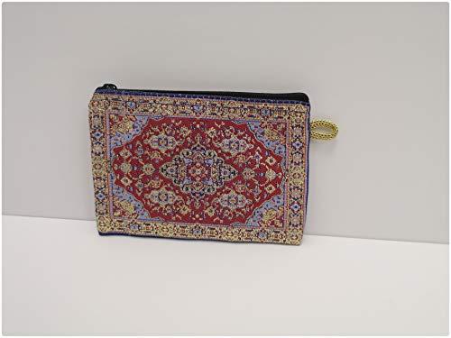 Türkische Geldbörse/Mini-Kosmetiktasche, bestickt, Ethno-Kelim-Design, 10 cm x 15 cm