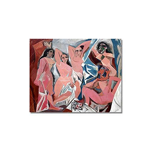 HGlSG (No Frame) 40x40CMWandkunst Leinwand Poster druckt Ganesha Illustration dekorative Malerei Bild für Wohnzimmer Modern Home Nordic Modular
