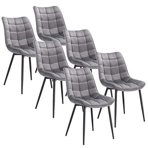 WOLTU 6 x Esszimmerstühle 6er Set Esszimmerstuhl Küchenstuhl Polsterstuhl Design Stuhl mit Rückenlehne, mit Sitzfläche aus Samt, Gestell aus Metall, Hellgrau, BH142hgr-6