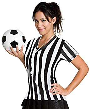 ChinFun Women s Official Uniform Black and White Stripe Pro-Style V Collar Referee Shirt Officiating Jersey for Sports Events Size L
