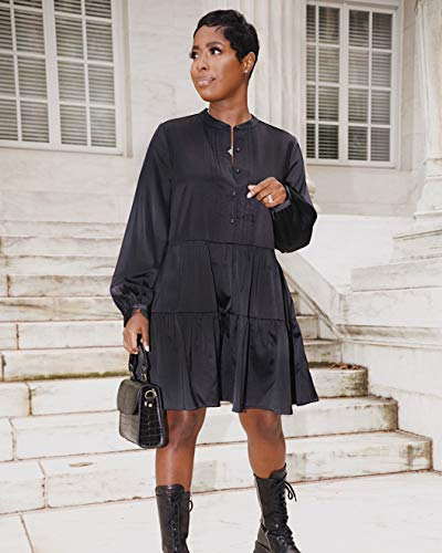 The Drop Women's Black Button-Front Tiered Mini Dress by @highlowluxxe