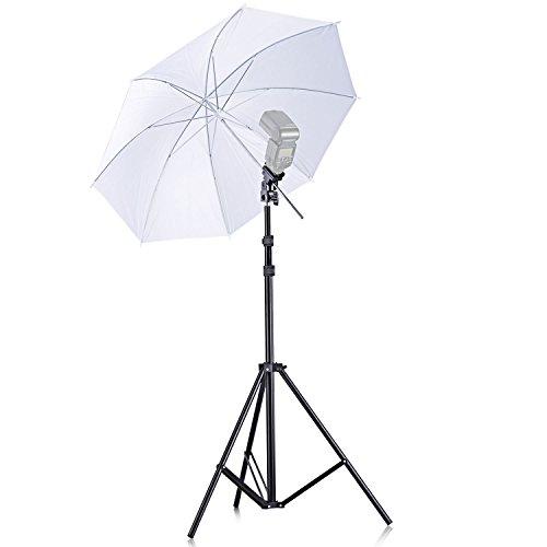 Neewer 10086174 - Kit de Iluminación:33'/84cm Paraguas de Foto Blanco translúcido,Soporte de Luz y Zapata de Conexión para Fotografía de Retrato y Grabación de Vídeo