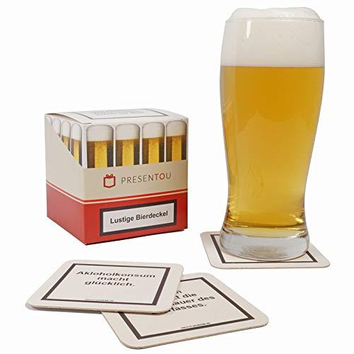 Presentou 45 Lustige Bierdeckel Getränke-Untersetzer mit Warnhinweisen | Party-Gag | Glas-Untersetzer als Gastgeschenk für den nächsten Pokerabend oder Jungesellen-Abschied | Männergeschenk