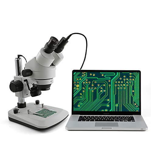 Microscopio stereo trinoculare SWIFT S7-TGL con ingrandimento 7X-45X, illuminazione a LED a luce incidente e trasmessa e doppia illuminazione a collo di cigno, adattatore C-mount 0,5X(Spina EU)
