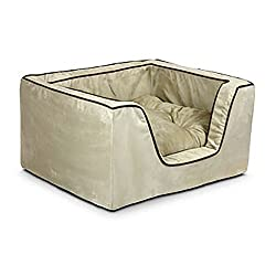 Picture of contemporary square shaped pet bed with corded detail