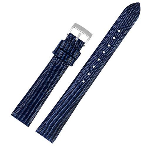 De Cuero Correa de Reloj de la Correa Negro/Negro/Azul 14mm de Pulsera Band Azul Plata, 14mm