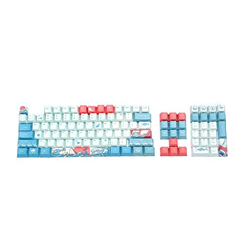 BAOD PBT Keycap, Translucent Layer Mechanical Keyboard Keycap, 104 Key Set with Key Puller Compatible with Mechanical Keyboard Cherry MX Switch Suitable for 104/87/61 60% Keyboard (Coral Sea)