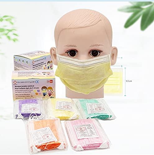 Niños - 50 Mascarillas Quirúrgicas Multicolor para Niños - Aprobadas - Desechables 3 capas - Certificado CE - Tipo IIR-2R- - 3 capas - Polipropileno - Dispositivo Médico