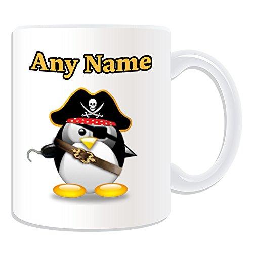 UNIGIFT gepersonaliseerd geschenk - piraat kapitein mok (Penguin in kostuum ontwerp wit) naam bericht unieke dom grappige novelty Caribbean Jack Sparrow hoed schatten oogschaduw pad eenogige schip bemanning