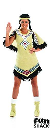 The Good Life Damen Erwachsene Spaß Shack Indianer Squaw Kostüm Kleidung Größe 36-38