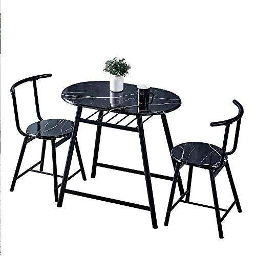 Saadiya 3 Piece Small Dining Table Set with Set of 2 Dinner Chairs Compact 3 Piece for Breakfast Bar Living Room Kitchen Marble Look Effect Dinette Set Contemporary (black frame + black marble effect)