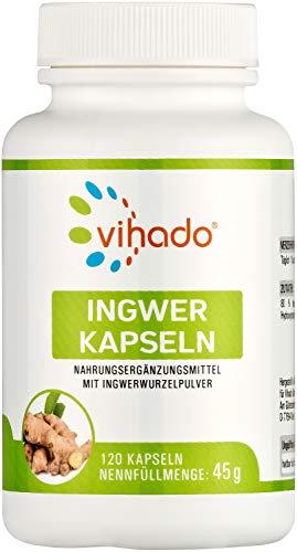 Vihado Ingwer Kapseln hochdosiert – naturbelassenes Ingwerpulver in pflanzlichen Kapseln – bewährtes Nahrungsergänzungsmittel – rein pflanzlich ohne Zusätze – 120 Kapseln