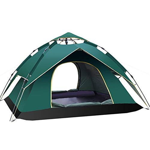 Pop Up Tent For 3 To 4 Person Automatic Opening Hexangular Hydraulic Double Layer Tent Ultra Large Waterproof Dome Tent With Porch Tents With Carrying Bag M Water-Resistant Ventilated and Durable