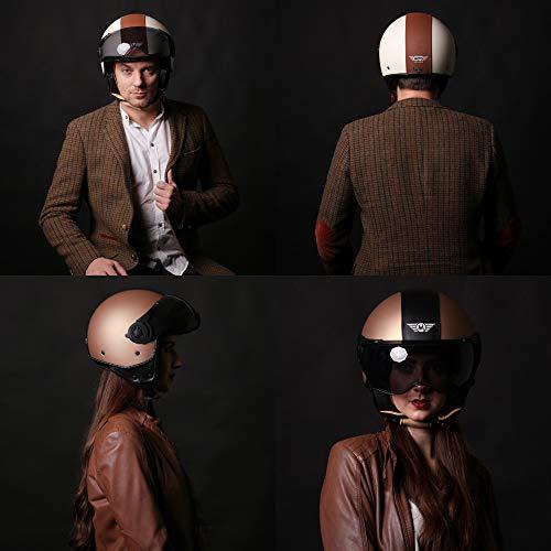 Moto Helmets H44 Leather Black · Cruiser Bobber Vintage Vespa-Helm Biker Chopper Retro Mofa Moto Helmetsrrad-Helm Jet-Helm Helmet Pilot Scooter-Helm Roller-Helm · ECE zertifiziert · inkl. Sonnenvisier · inkl. Stofftragetasche · Grau · XL (61-62cm) - 9