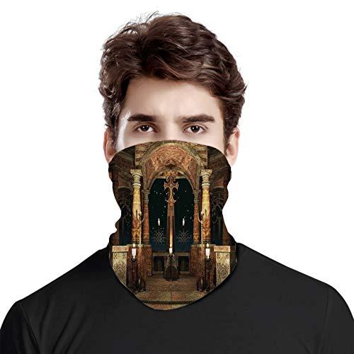 FULIYA Toller Gesichtsschutz für den Hals, dunkler mystischer antiker Hall mit Säulen und Kuppel Schreinerbau-Illustration, verschiedene Kopftuch, Unisex