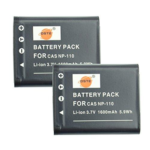 DSTE 2-Pieza Repuesto Batería para Casio NP-110 Exilim EX-FC200S EX-Z3000 EX-Z3000BN EX-Z3000PK EX-Z3000RD EX-Z3000SR EX-ZR10 EX-ZR15 EX-ZR15BK EX-ZR15GD EX-ZR15RD EX-ZR15WE EX-ZR20 EX-ZR20WE