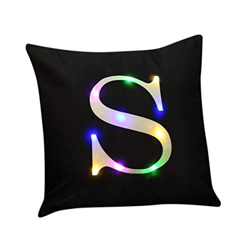"""ZUODU Word Printing Cushion Cover, LED Colorful Flashing Velvet Letter Cushion Cover Pillow Cover Bar Use Party Use Festival Use Gift Use18""""x18"""" or 45cm x 45cm 1pc (S)"""