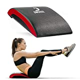 DMoose Ab Mat for Sit up, High Density Foam Covered with Non-Slip PVC Leather, Provides Lower Back Lumbar Support for Full Range of Motion, Exercise Equipment - Black/Red