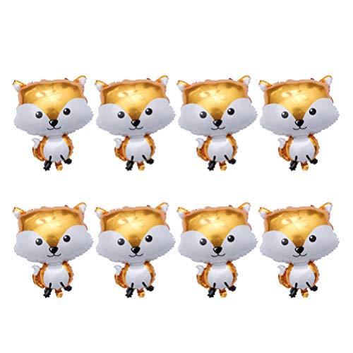 Amosfun - Globo con diseño de zorro de animales, 8 unidades, decoración de aluminio, diseño de hoja de globo para bebés, ducha, cumpleaños, festivales, fiestas de Navidad 65 * 48cm Renard