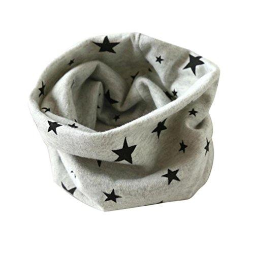 Longra Automne Hiver bébé Garçons Filles Collier Coton O Anneau Écharpe Neck 40 * 37cm pour 2 à 10 Ans (Gris)