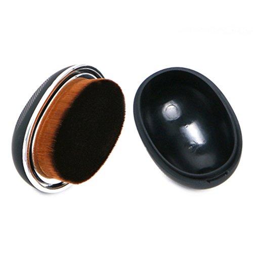 Gespout Pinceau de Maquillage Professionnel pour Visage Nylon Poignée en Plastique Fond de Teint Poudre Blush Facile à transporter(Noir)