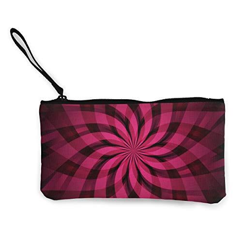 Wrution Geldbörse/Geldbörse mit Reißverschluss, abstraktes Design, Dunkelviolett/Pink mit Strahlen und Sternen