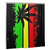 Rasta Jamaikanische Flagge Duschvorhang Schwarz Blatt Rastafari Badezimmer Set Zubehör Stern Gardinen Duschhaken sind enthalten 71 x
