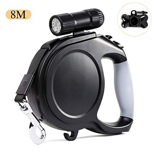 Alihoo Hundeleine, 8m Einziehbare Hundeleine, Walking Trainingsleine mit Abnehmbarer Taschenlampe für kleine mittelgroße Hunde bis max 40kg (Black)