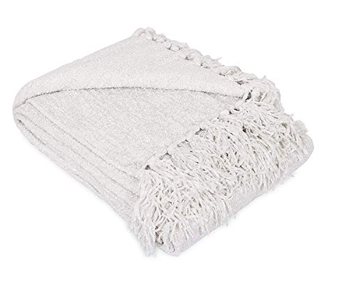Internet's Best Thick Chenille Throw Blankets - 50 x 60 Inches - Ultra Soft Sofa Couch Blanket with Fringe - Light Weight Sofa Throw - 100% Microfiber Polyester - Easy Travel - Bed (Ivory)