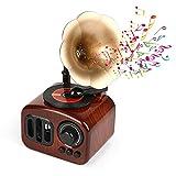Caja de música, bocina de trompeta giratoria Gramophone Altavoz para decoración de escritorio del hogar, manivela de madera retro vintage caja de música regalo para niños, amigos, padres