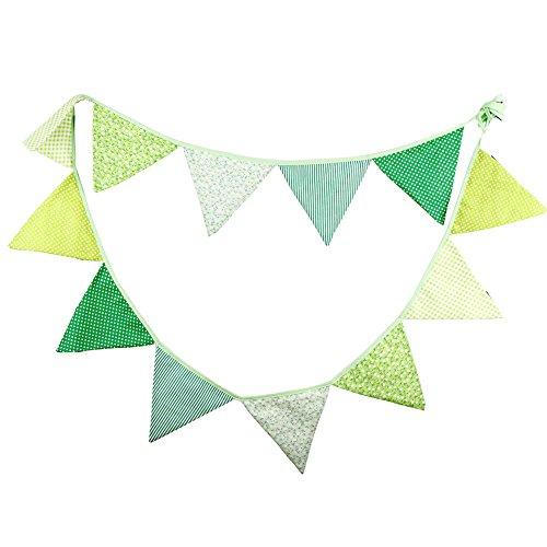 Guirnalda de banderines estampados de iTemer, de tela, doble capa, diseño floral, para decoración de fiesta, boda, celebraciones, eventos, 3,2metros (verde)