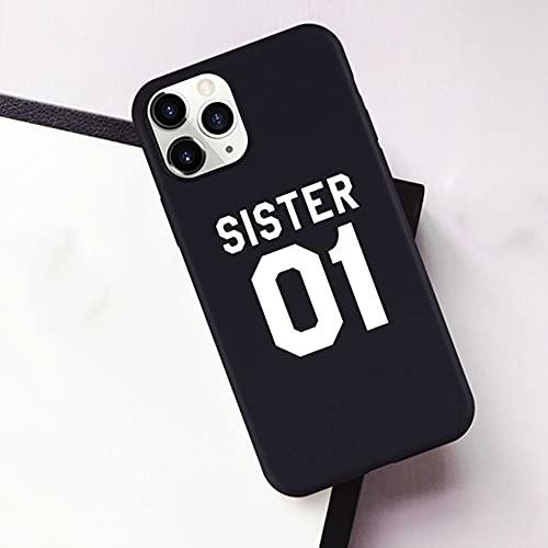 Best Friends Sisters Funda para teléfono para iPhone 7 8 6 Plus 12 11 Pro X XS XR XSMAX SE Sisters 01 02 03 Funda para teléfono con Letras, A, para iPhone 12mini