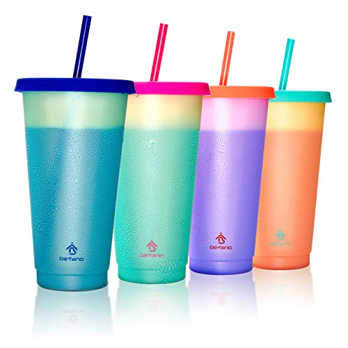 Befano Color Changing Cups 24oz Reusable Plastic Cold Drink Cups with Lids and Straws BPA Free Adult Kids Summer Coffee Tumblers Party Cup 4PACK