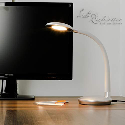 Dimmbare Tischleuchte LED Touch Dimmer biegsamer Arm in Silber 300lm Schreibtischlampe
