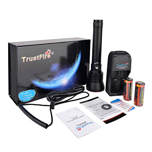 TrustFire DF70 Tauch-Taschenlampe, 3200 Lumen, Tauch-Taschenlampe, wasserdicht, XHP-70, 70 m, Unterwasser-LED-Taschenlampe, Weiß, Tauchleuchten mit 2 x 26650 Akku und Ladegerät