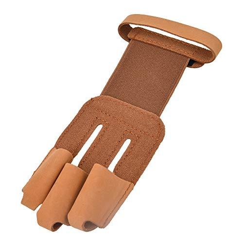 Borlai Tiro con Arco de Cuero de Vaca Artificial 3 Protector de Dedos Guante Protector de Pestaña de Dedo para Recurvo