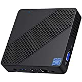 Mini PC Intel Celeron N4000(up to 2.6GHz), DDR4 4GB/64GB eMMC Mini PC Fanless UHD 4k@60Hz, Mini Computer Support HDMI2.0a&VGA, USB3.0, 2.4/5.8G Wi-Fi, DIY NGFF 2242 SSD, Auto Power On