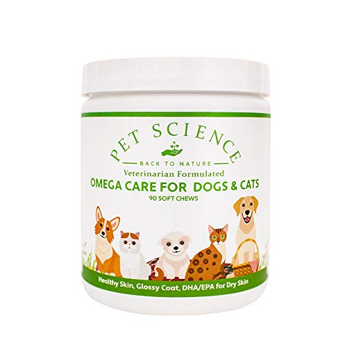 Pet Science Omega Care for Dogs and Cats, Salmon Oil Fatty Acids for Coat Hydration (90 Soft Chews)